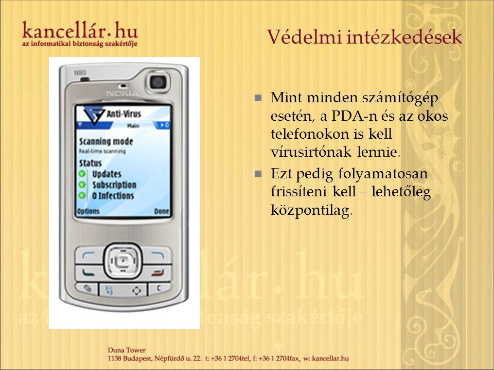 Védelmi intézkedések  Mint minden számítógép esetén, a PDA-n és az okos telefonokon is kell vírusirtónak lennie.  Ezt pedig folyamatosan frissíteni