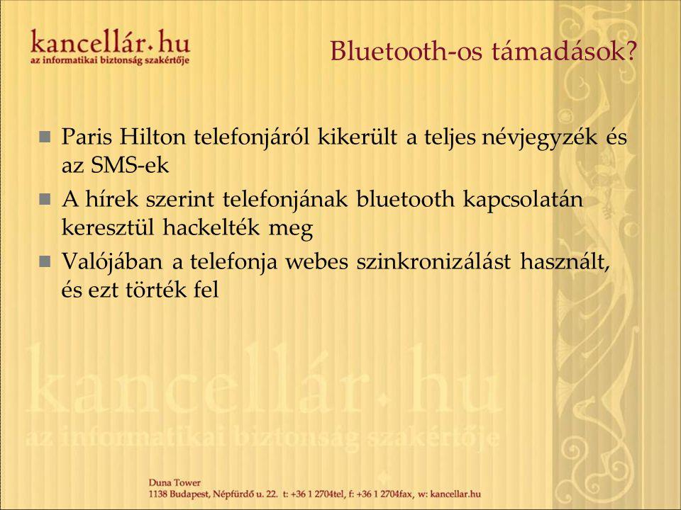 Bluetooth-os támadások?  Paris Hilton telefonjáról kikerült a teljes névjegyzék és az SMS-ek  A hírek szerint telefonjának bluetooth kapcsolatán ker