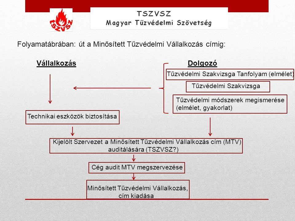 Folyamatábrában: út a Minősített Tűzvédelmi Vállalkozás címig: VállalkozásDolgozó Tűzvédelmi Szakvizsga Tanfolyam (elmélet) Tűzvédelmi Szakvizsga Tűzv