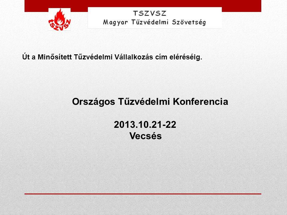 Út a Minősített Tűzvédelmi Vállalkozás cím eléréséig. Országos Tűzvédelmi Konferencia 2013.10.21-22 Vecsés