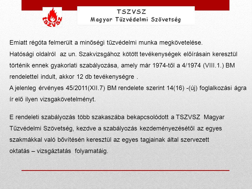 Magyarországon ezen ellenőrzéseket a gyakorlatban a tűzvédelmi hatóság szakemberei végzik (elvileg építési tevékenységeknél a műszaki ellenőrök, építésfelügyelet szakemberei is jogosultak lennének erre, de ez csak nagyon-nagyon ritka esetben valósul meg).