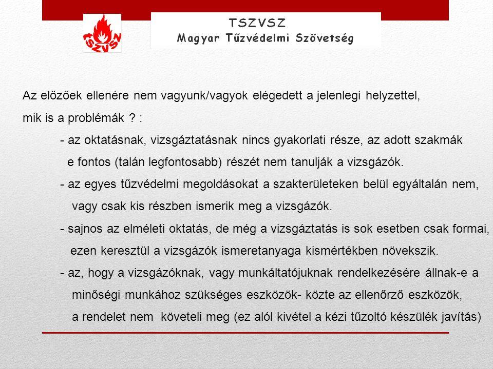 Ezzel szemben más európai országokban az építészeti tűzvédelem ellenőrzésének folyamata a következő: Beruházó Fővállalkozó Tűzvédelmi kivitelező vagy Tűzvédelmi Szakértők (Szakterületek szerint) Folyamatos ellenőrzés Minőségi munkáról jelentésMűszaki átadás Hatósági Szakemberek Ellenőrzés (Random) Műszaki átvétel Megfelelő –e igen nem