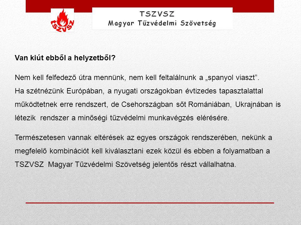 Folyamatábrában: út a Minősített Tűzvédelmi Vállalkozás címig: VállalkozásDolgozó Tűzvédelmi Szakvizsga Tanfolyam (elmélet) Tűzvédelmi Szakvizsga Tűzvédelmi módszerek megismerése (elmélet, gyakorlat) Technikai eszközök biztosítása Kijelölt Szervezet a Minősített Tűzvédelmi Vállalkozás cím (MTV) auditálására (TSZVSZ?) Cég audit MTV megszervezése Minősített Tűzvédelmi Vállalkozás, cím kiadása