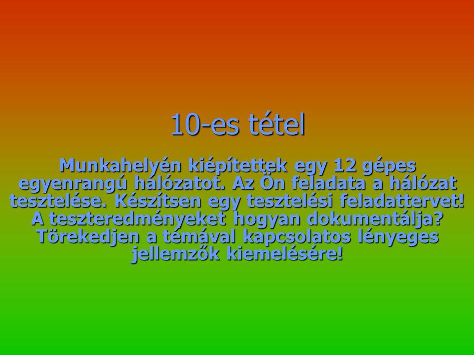 10-es tétel Munkahelyén kiépítettek egy 12 gépes egyenrangú hálózatot.