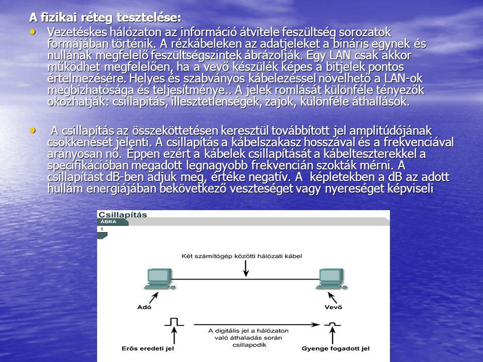 A fizikai réteg tesztelése: • Vezetéskes hálózaton az információ átvitele feszültség sorozatok formájában történik.