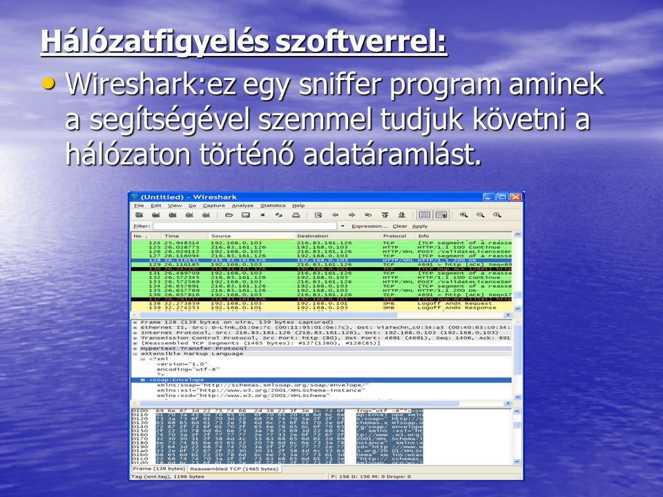 Hálózatfigyelés szoftverrel: • Wireshark:ez egy sniffer program aminek a segítségével szemmel tudjuk követni a hálózaton történő adatáramlást.