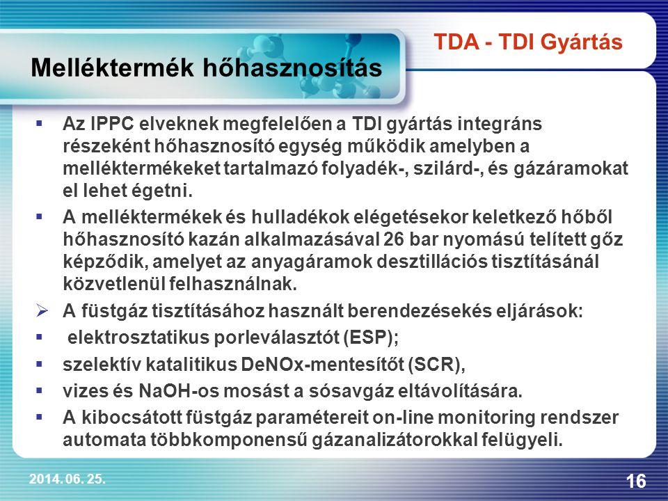 2014. 06. 25. 16  Az IPPC elveknek megfelelően a TDI gyártás integráns részeként hőhasznosító egység működik amelyben a melléktermékeket tartalmazó f