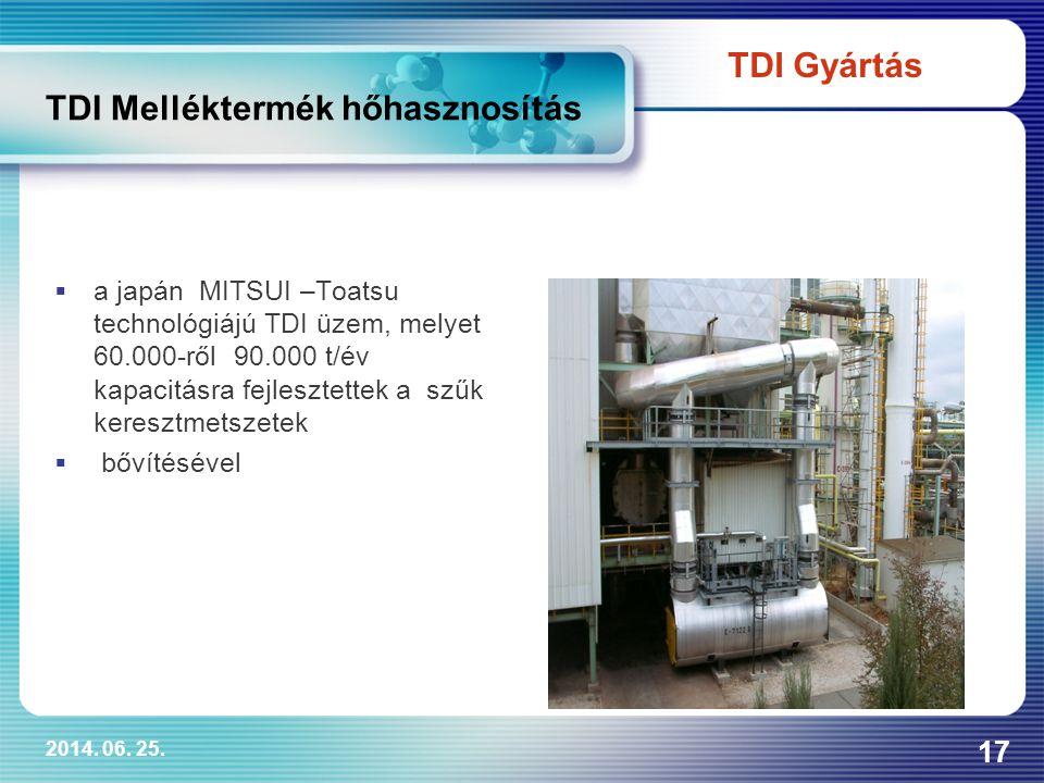 2014. 06. 25. 17 TDI Melléktermék hőhasznosítás  a japán MITSUI –Toatsu technológiájú TDI üzem, melyet 60.000-ről 90.000 t/év kapacitásra fejlesztett