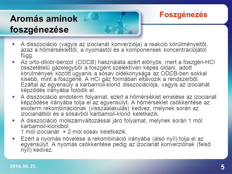 2014. 06. 25. 5 Aromás aminok foszgénezése  A disszociáció (vagyis az izocianát konverziója) a reakció körülményeitől, azaz a hőmérséklettől, a nyomá