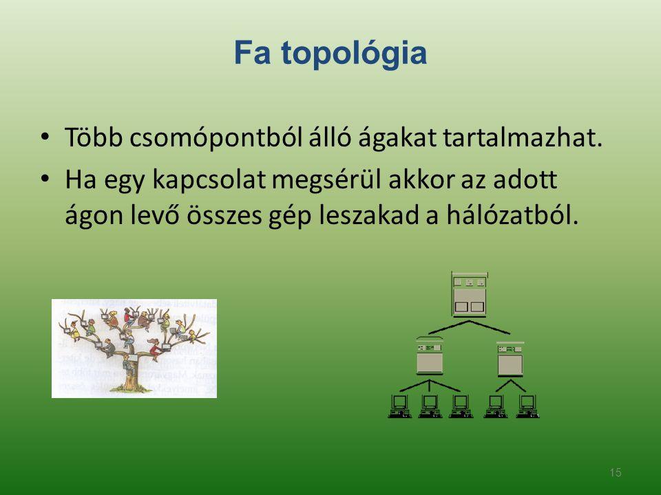 Fa topológia • Több csomópontból álló ágakat tartalmazhat. • Ha egy kapcsolat megsérül akkor az adott ágon levő összes gép leszakad a hálózatból. 15