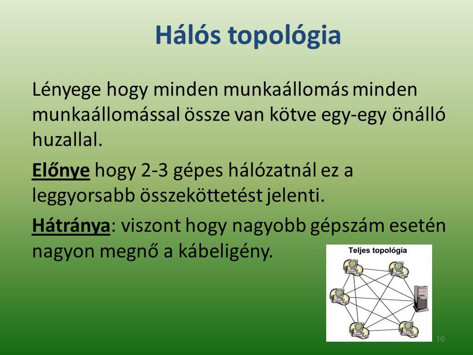 16 Hálós topológia Lényege hogy minden munkaállomás minden munkaállomással össze van kötve egy-egy önálló huzallal. Előnye hogy 2-3 gépes hálózatnál e