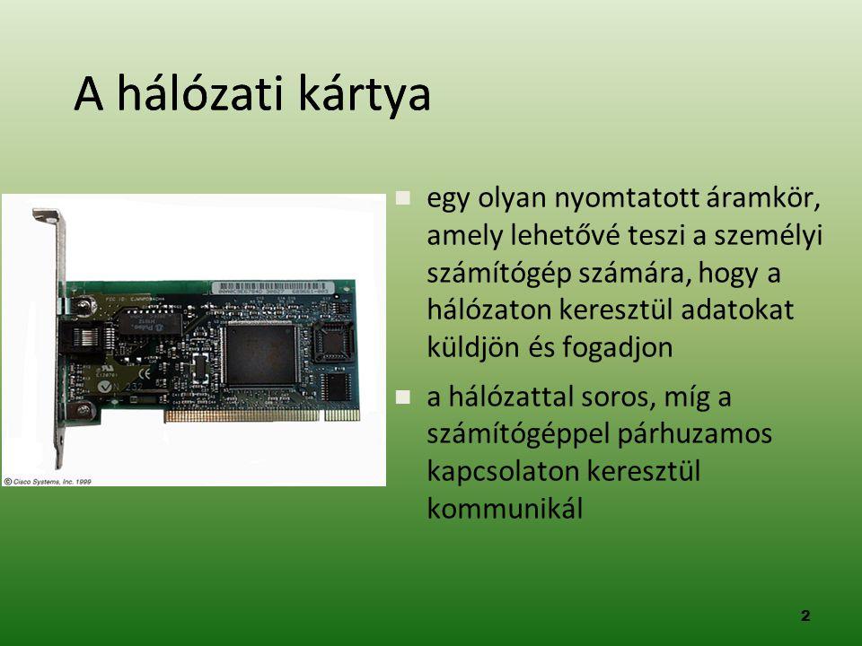2 A hálózati kártya  egy olyan nyomtatott áramkör, amely lehetővé teszi a személyi számítógép számára, hogy a hálózaton keresztül adatokat küldjön és