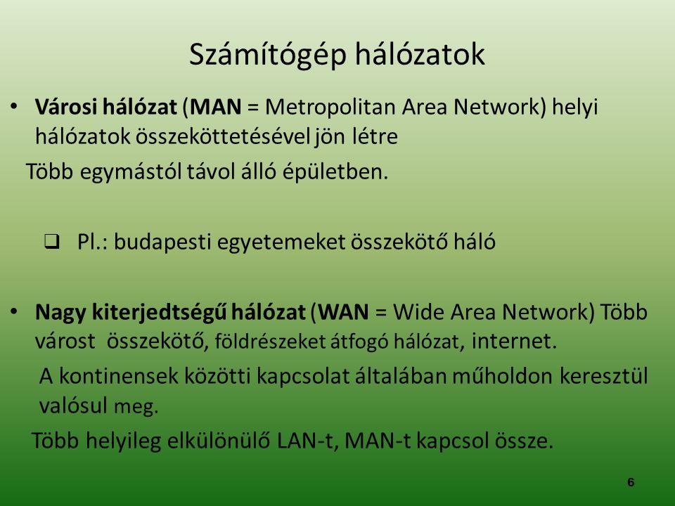 • Városi hálózat (MAN = Metropolitan Area Network) helyi hálózatok összeköttetésével jön létre Több egymástól távol álló épületben.  Pl.: budapesti e