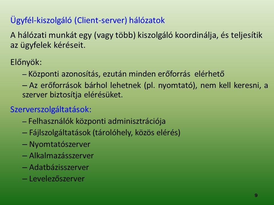 Ügyfél-kiszolgáló (Client-server) hálózatok A hálózati munkát egy (vagy több) kiszolgáló koordinálja, és teljesítik az ügyfelek kéréseit. Előnyök: – K