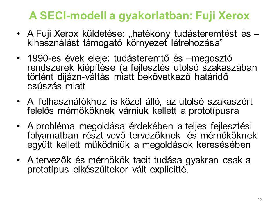 """A SECI-modell a gyakorlatban: Fuji Xerox •A Fuji Xerox küldetése: """"hatékony tudásteremtést és – kihasználást támogató környezet létrehozása"""" •1990-es"""
