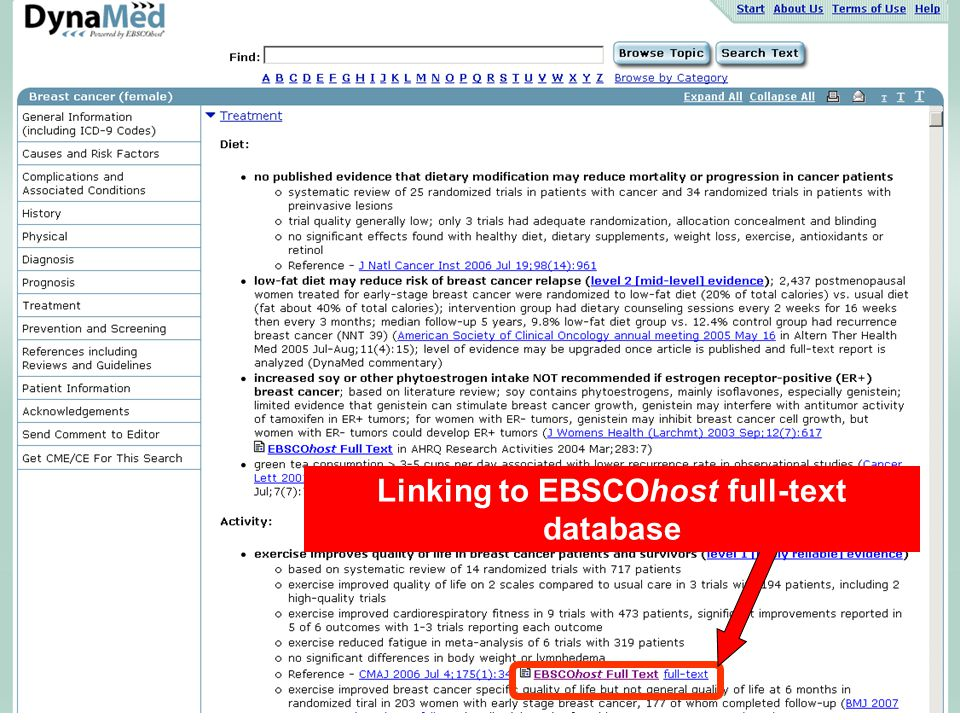 Linking to EBSCOhost full-text database