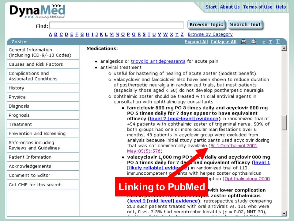 Linking to PubMed