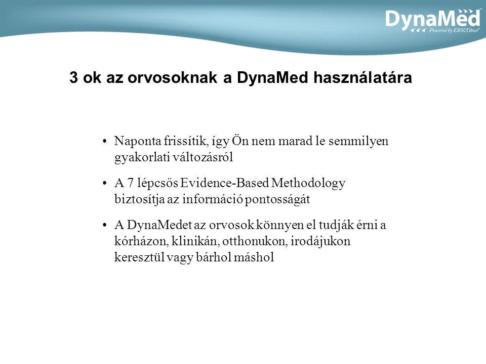 •Naponta frissítik, így Ön nem marad le semmilyen gyakorlati változásról •A 7 lépcsős Evidence-Based Methodology biztosítja az információ pontosságát •A DynaMedet az orvosok könnyen el tudják érni a kórházon, klinikán, otthonukon, irodájukon keresztül vagy bárhol máshol 3 ok az orvosoknak a DynaMed használatára