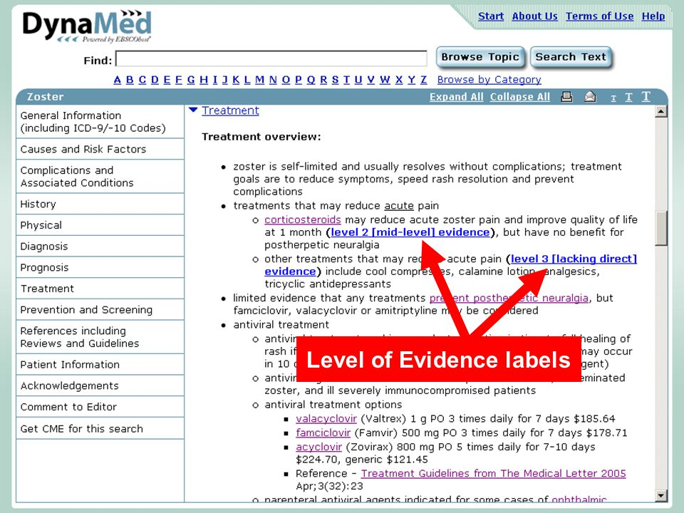 Level of Evidence labels