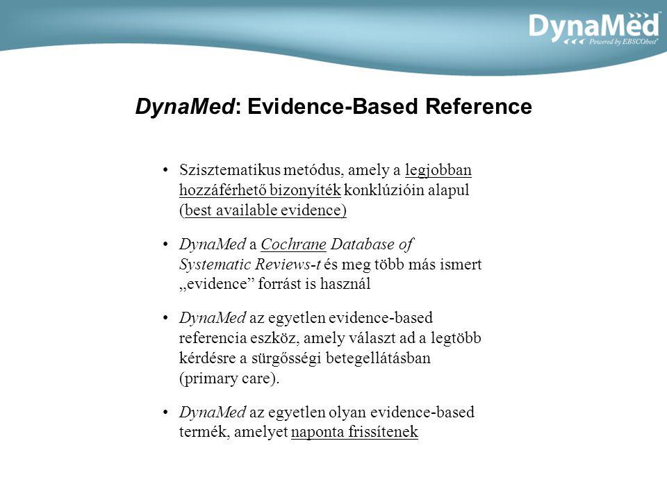 DynaMed tartalma •DynaMed t öbb mint 2000 klinikai téma összefoglalóját tartalmazza •Az összefoglaló témák a következőkön alapulnak: –Általános és nem általános betegségek és körülményeik –Szimptomák (pl., mellkasi fájdalom) –Egyéb kiemelt klinikai témák (pl.