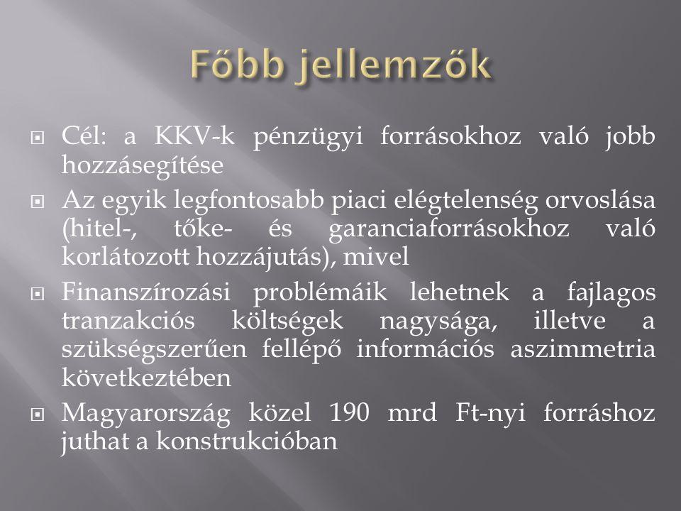  Cél: a KKV-k pénzügyi forrásokhoz való jobb hozzásegítése  Az egyik legfontosabb piaci elégtelenség orvoslása (hitel-, tőke- és garanciaforrásokhoz való korlátozott hozzájutás), mivel  Finanszírozási problémáik lehetnek a fajlagos tranzakciós költségek nagysága, illetve a szükségszerűen fellépő információs aszimmetria következtében  Magyarország közel 190 mrd Ft-nyi forráshoz juthat a konstrukcióban