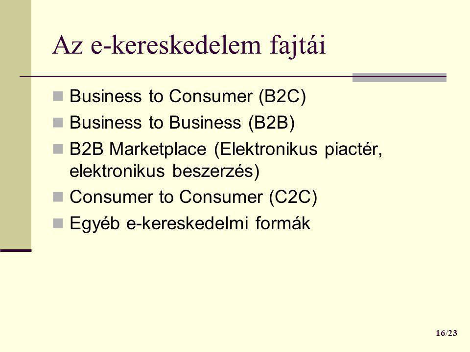 Az e-kereskedelem fajtái  Business to Consumer (B2C)  Business to Business (B2B)  B2B Marketplace (Elektronikus piactér, elektronikus beszerzés) 