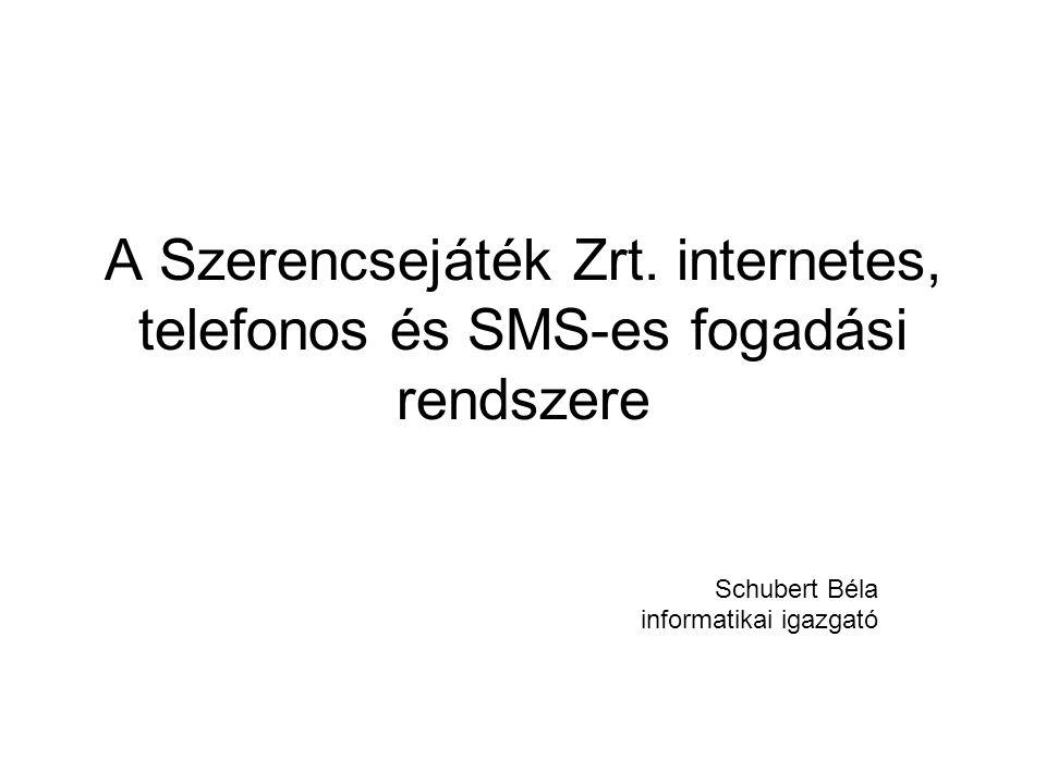 A Szerencsejáték Zrt. internetes, telefonos és SMS-es fogadási rendszere Schubert Béla informatikai igazgató