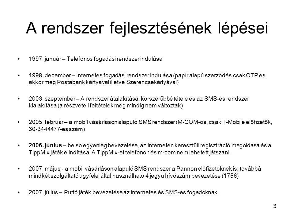 3 A rendszer fejlesztésének lépései •1997. január – Telefonos fogadási rendszer indulása •1998. december – Internetes fogadási rendszer indulása (papí
