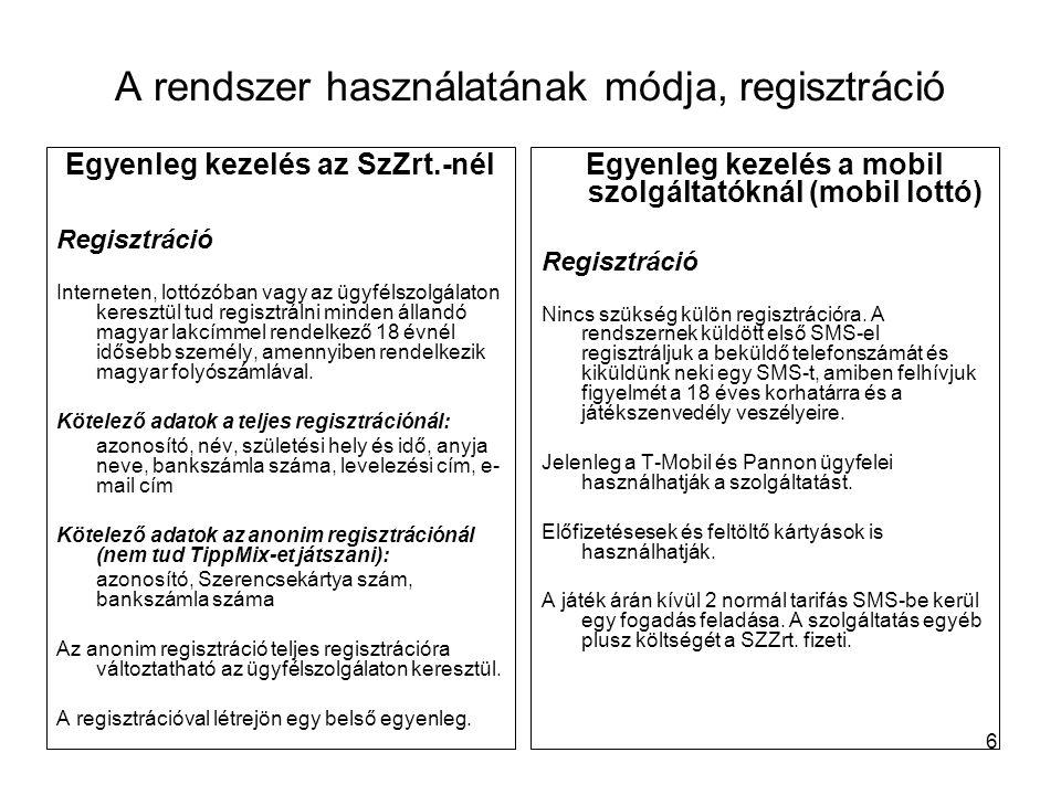 6 A rendszer használatának módja, regisztráció Egyenleg kezelés az SzZrt.-nél Regisztráció Interneten, lottózóban vagy az ügyfélszolgálaton keresztül