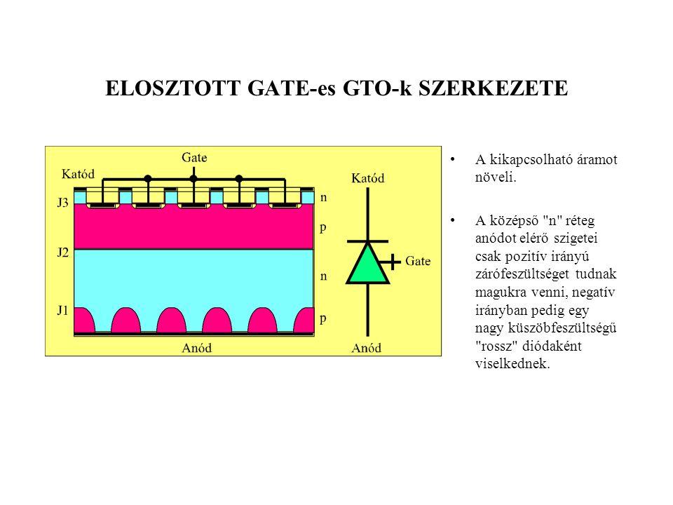 ELOSZTOTT GATE-es GTO-k SZERKEZETE •A kikapcsolható áramot növeli. •A középső