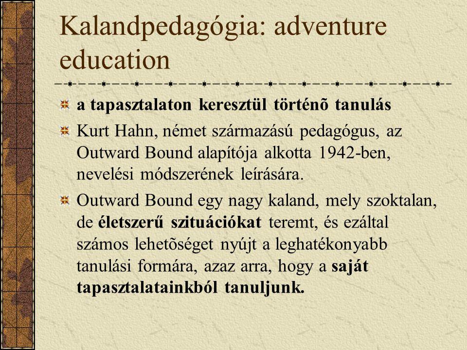 Kalandpedagógia: adventure education a tapasztalaton keresztül történõ tanulás Kurt Hahn, német származású pedagógus, az Outward Bound alapítója alkot
