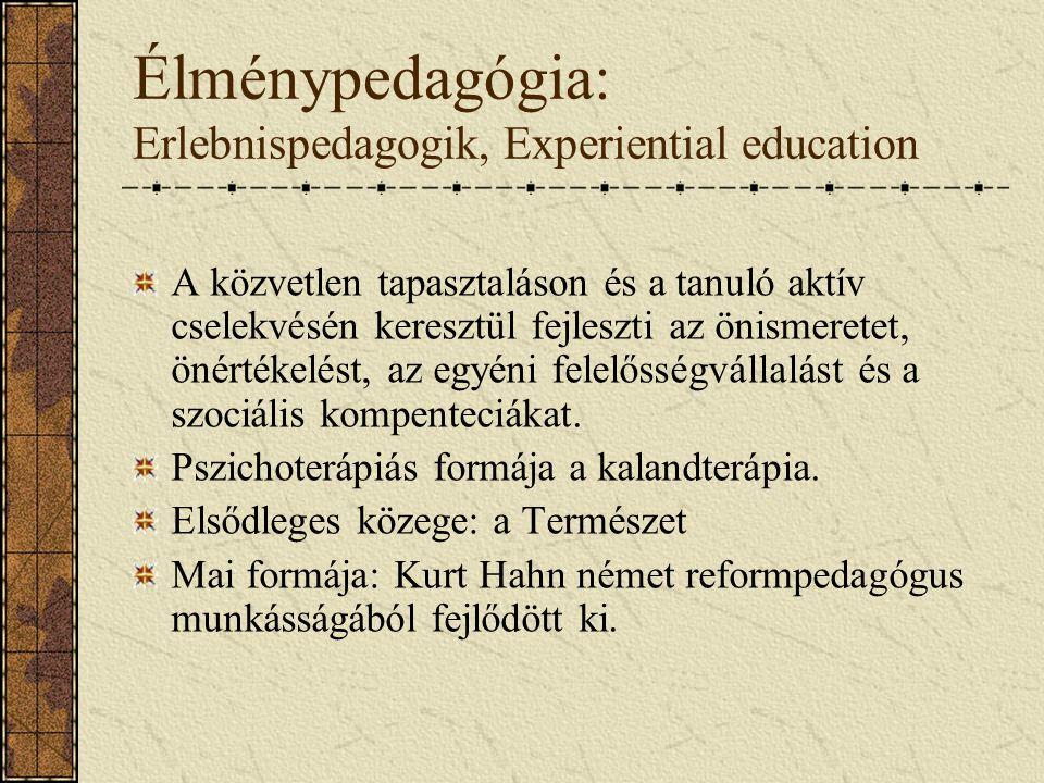 Élménypedagógia: Erlebnispedagogik, Experiential education A közvetlen tapasztaláson és a tanuló aktív cselekvésén keresztül fejleszti az önismeretet,