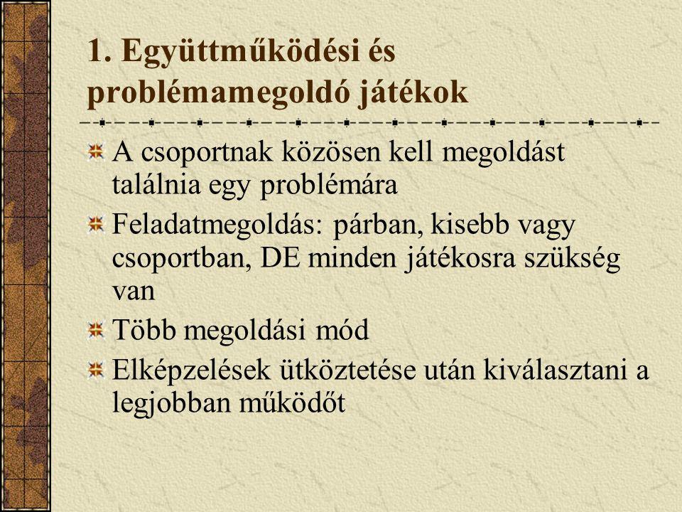 1. Együttműködési és problémamegoldó játékok A csoportnak közösen kell megoldást találnia egy problémára Feladatmegoldás: párban, kisebb vagy csoportb