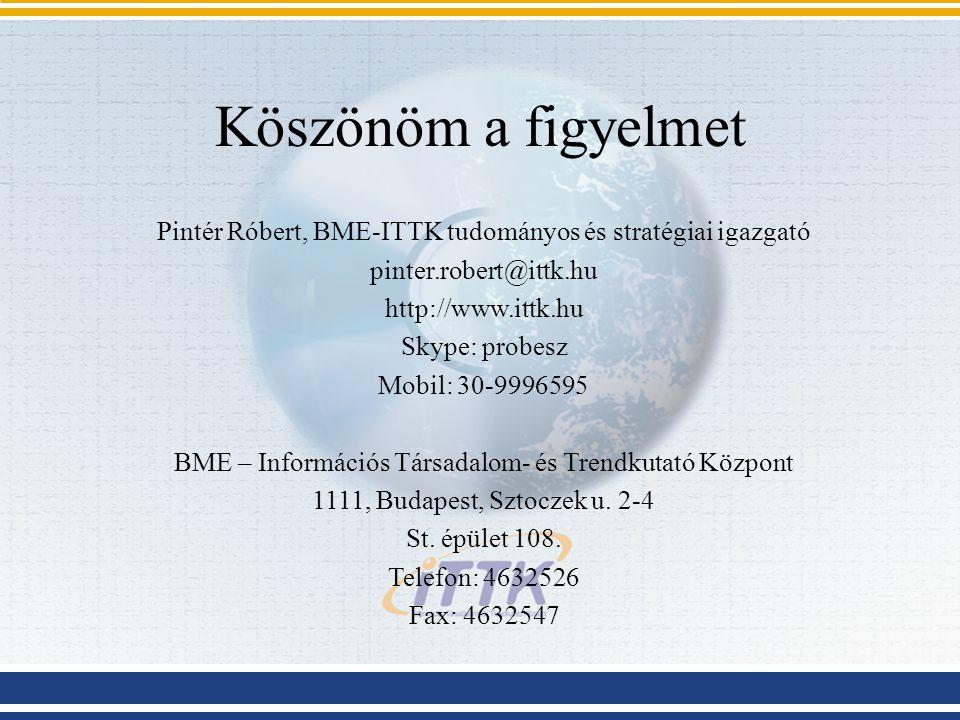Köszönöm a figyelmet Pintér Róbert, BME-ITTK tudományos és stratégiai igazgató pinter.robert@ittk.hu http://www.ittk.hu Skype: probesz Mobil: 30-9996595 BME – Információs Társadalom- és Trendkutató Központ 1111, Budapest, Sztoczek u.