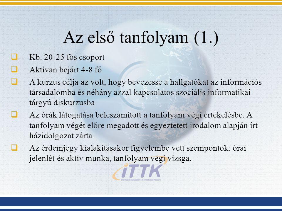 Az első tanfolyam (1.)  Kb.