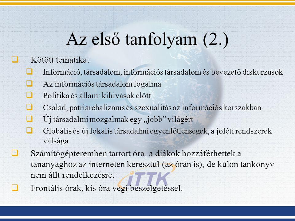 Az első tanfolyam (2.)  Kötött tematika:  Információ, társadalom, információs társadalom és bevezető diskurzusok  Az információs társadalom fogalma