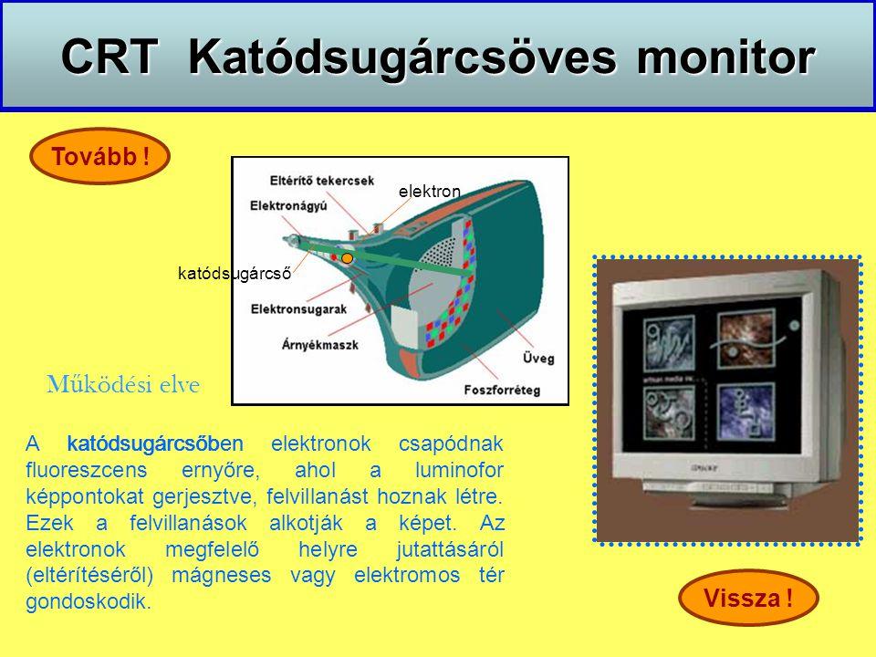 CRT Katódsugárcsöves monitor M ű ködési elve Vissza ! Tovább ! katódsugárcső A katódsugárcsőben elektronok csapódnak fluoreszcens ernyőre, ahol a lumi