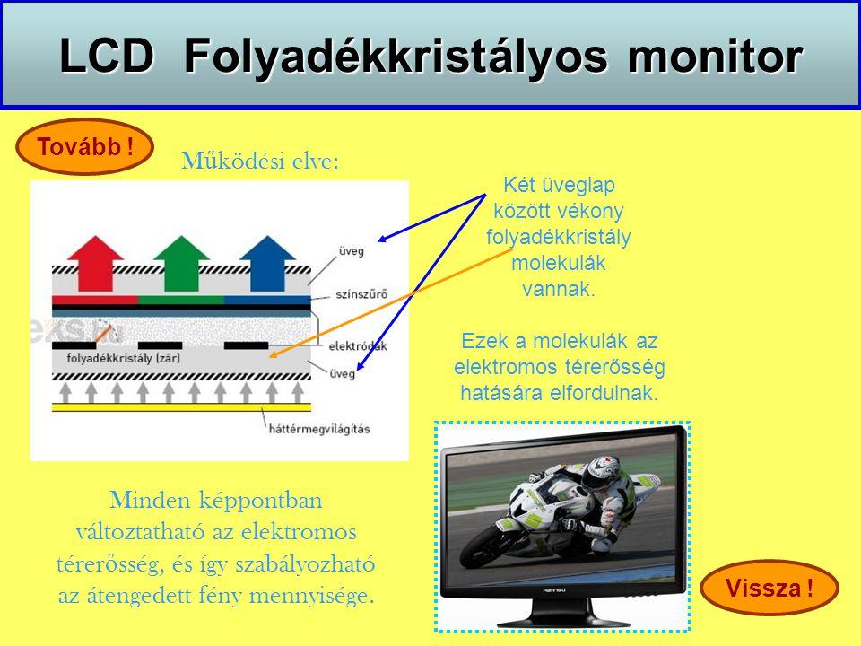 LCD Folyadékkristályos monitor M ű ködési elve: Tovább ! Vissza ! Minden képpontban változtatható az elektromos térer ő sség, és így szabályozható az