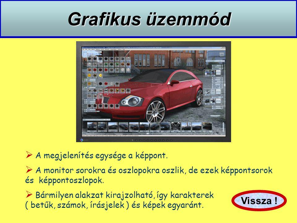 Grafikus üzemmód  A megjelenítés egysége a képpont.  A monitor sorokra és oszlopokra oszlik, de ezek képpontsorok és képpontoszlopok.  Bármilyen al
