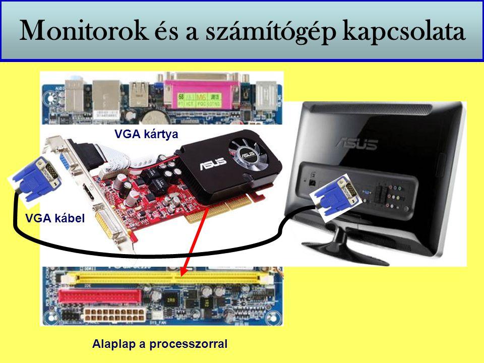 Monitorok és a számítógép kapcsolata Alaplap a processzorral VGA kártya VGA kábel