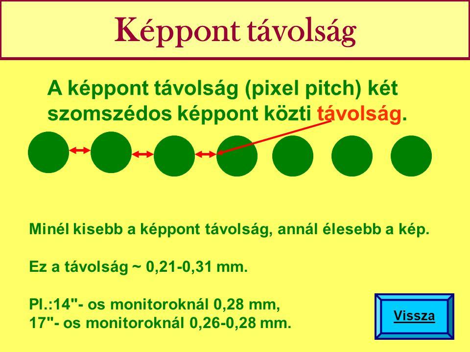 Képpont távolság A képpont távolság (pixel pitch) két szomszédos képpont közti távolság. Minél kisebb a képpont távolság, annál élesebb a kép. Ez a tá