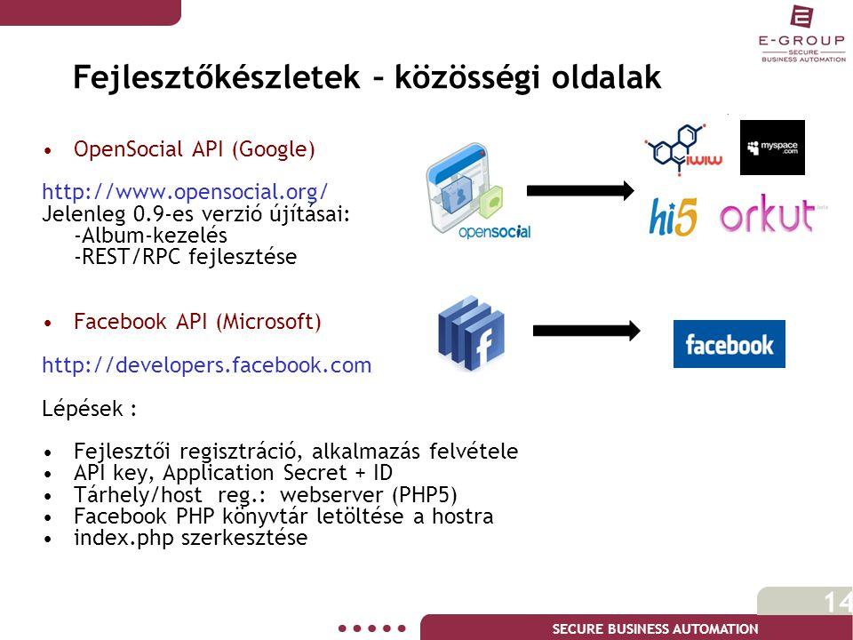 SECURE BUSINESS AUTOMATION 14 •OpenSocial API (Google) http://www.opensocial.org/ Jelenleg 0.9-es verzió újításai: -Album-kezelés -REST/RPC fejlesztése •Facebook API (Microsoft) http://developers.facebook.com Lépések : •Fejlesztői regisztráció, alkalmazás felvétele •API key, Application Secret + ID •Tárhely/host reg.: webserver (PHP5) •Facebook PHP könyvtár letöltése a hostra •index.php szerkesztése Fejlesztőkészletek – közösségi oldalak