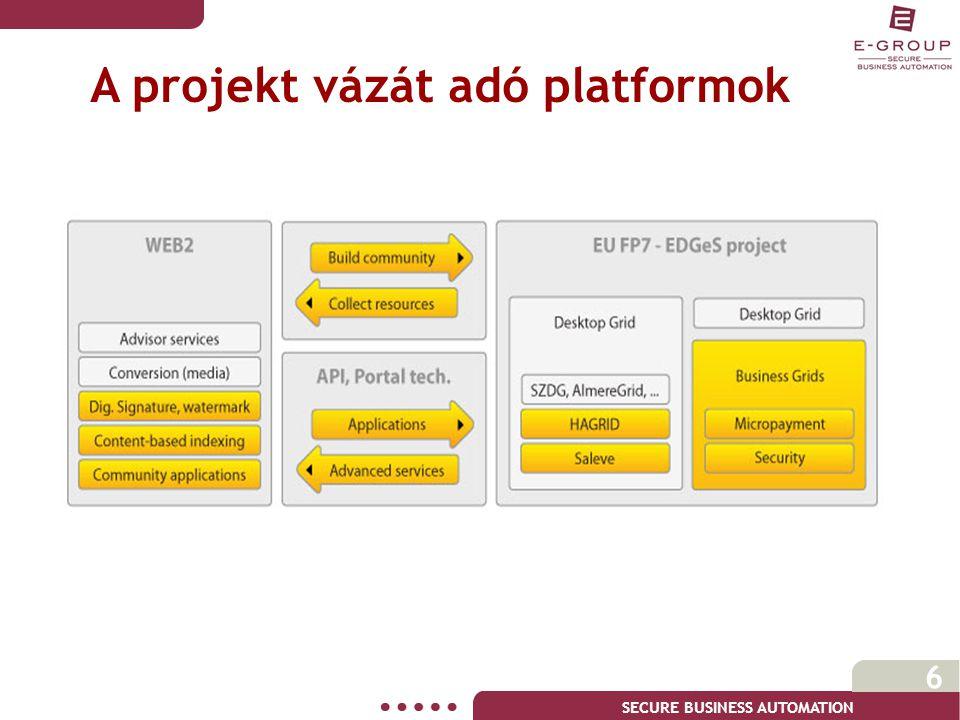SECURE BUSINESS AUTOMATION 6 A projekt vázát adó platformok