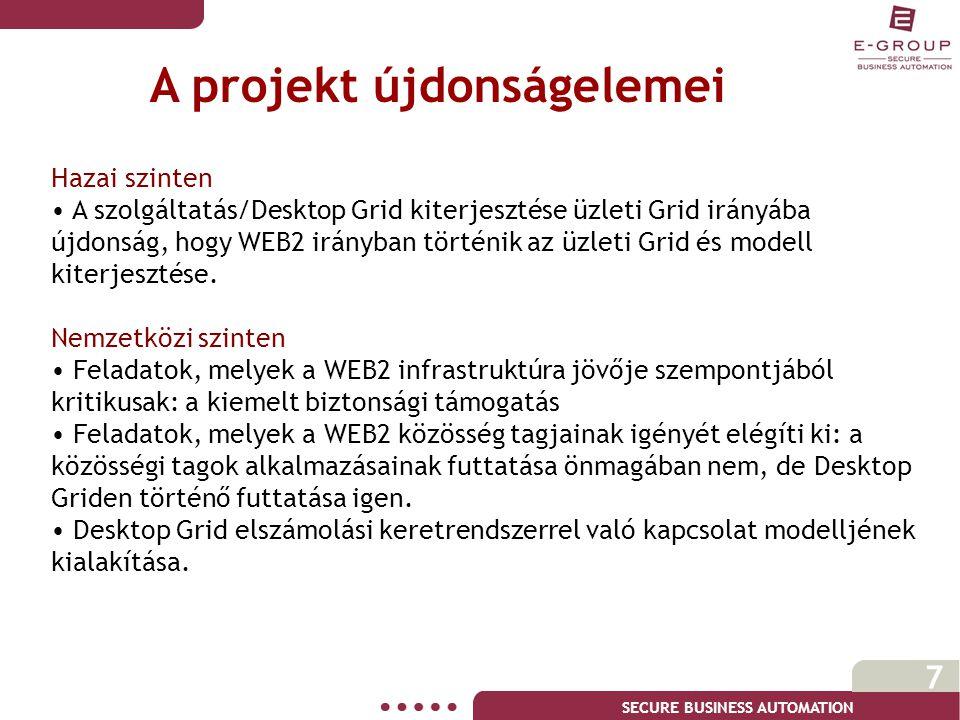 SECURE BUSINESS AUTOMATION 7 Hazai szinten • A szolgáltatás/Desktop Grid kiterjesztése üzleti Grid irányába újdonság, hogy WEB2 irányban történik az üzleti Grid és modell kiterjesztése.