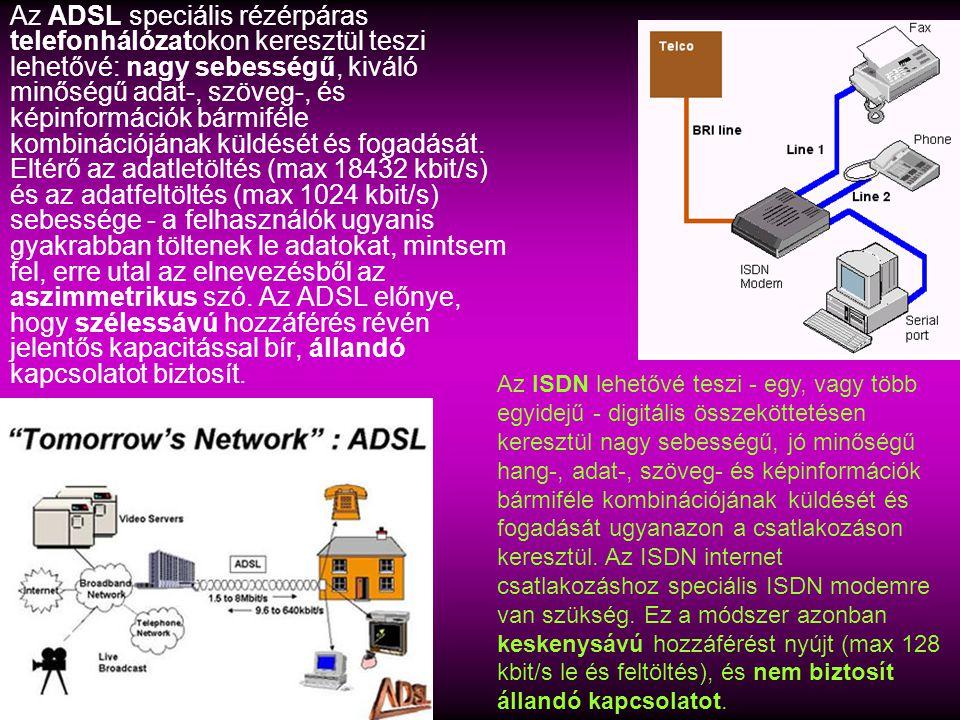 Az ADSL speciális rézérpáras telefonhálózatokon keresztül teszi lehetővé: nagy sebességű, kiváló minőségű adat-, szöveg-, és képinformációk bármiféle