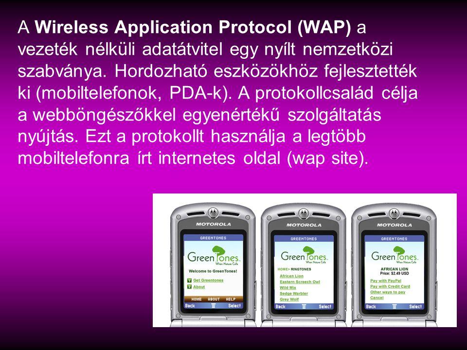 Wi-Fi :vezeték nélküli mikrohullámú kommunikációt megvalósító, széles körűen elterjedt szabvány népszerű neve.
