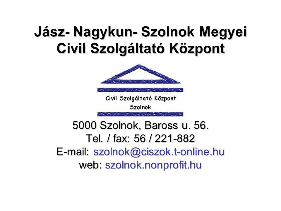 Jász- Nagykun- Szolnok Megyei Civil Szolgáltató Központ 5000 Szolnok, Baross u.
