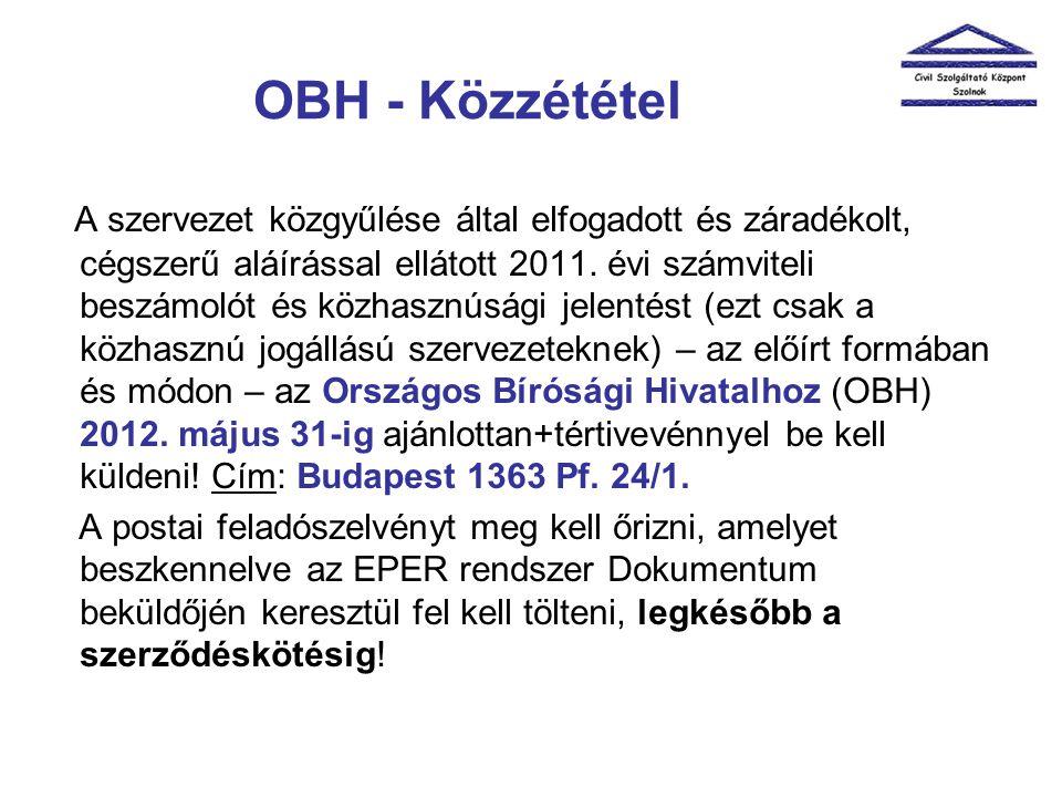 OBH - Közzététel A szervezet közgyűlése által elfogadott és záradékolt, cégszerű aláírással ellátott 2011. évi számviteli beszámolót és közhasznúsági