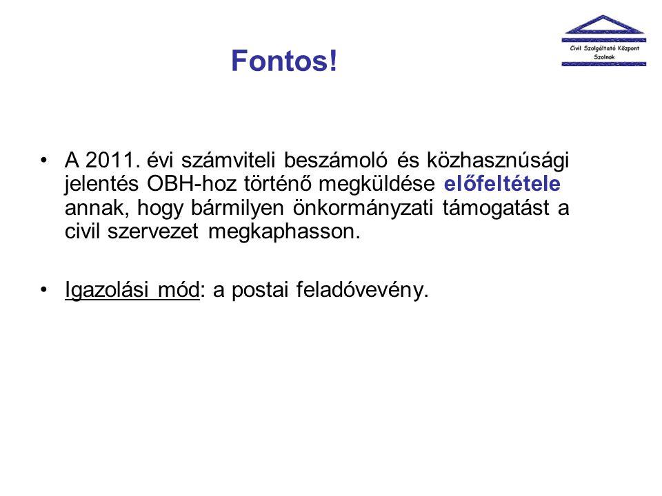 Fontos! •A 2011. évi számviteli beszámoló és közhasznúsági jelentés OBH-hoz történő megküldése előfeltétele annak, hogy bármilyen önkormányzati támoga