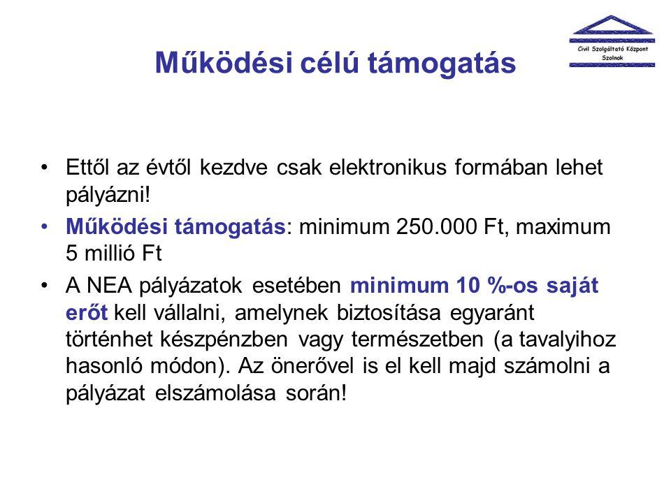 Működési célú támogatás •Ettől az évtől kezdve csak elektronikus formában lehet pályázni! •Működési támogatás: minimum 250.000 Ft, maximum 5 millió Ft